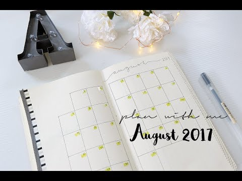 BULLET JOURNAL | PLAN WITH ME - August 2017 with minimalist layout no sticker or complicated drawing