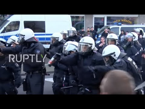 germany  police clash with protesters at cologne rally against turkeys afrin op