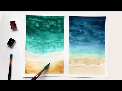 Watercolor Beach Tutorial For Beginners Easy Watercolor Ideas Youtube