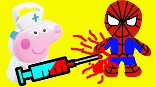 Свинка Пеппа Доктор лечит Человека Паука Делает Укол Мультик Для Детей