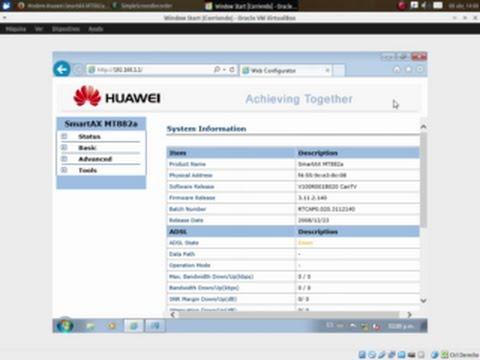 Huawei smartax mt882 firmware upgrade router screenshot.