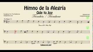Himno de la Alegría Partitura de Trombón tuba bombardino en Do Mayor (partitura en descripción)