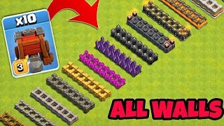 Wall Wrecker vs All Walls | Lvl 1-2-3-4-5-6-7-8-9-10-11-12-13 | | Clash Of Clans