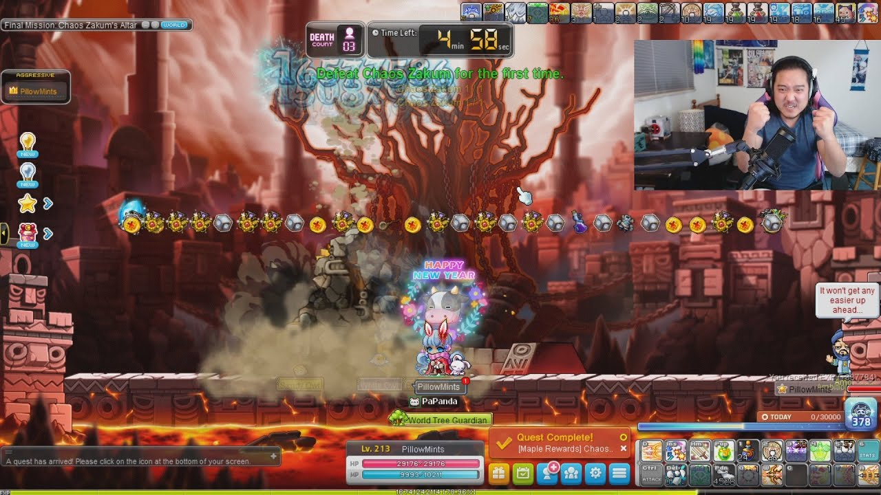 Pillowmint's final fight with chaotic arm boss | MapleStory