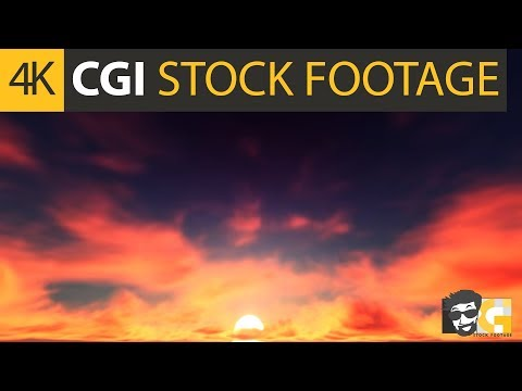( CGI 4k Stock Footage ) Fiery red phoenix clouds sunset sky