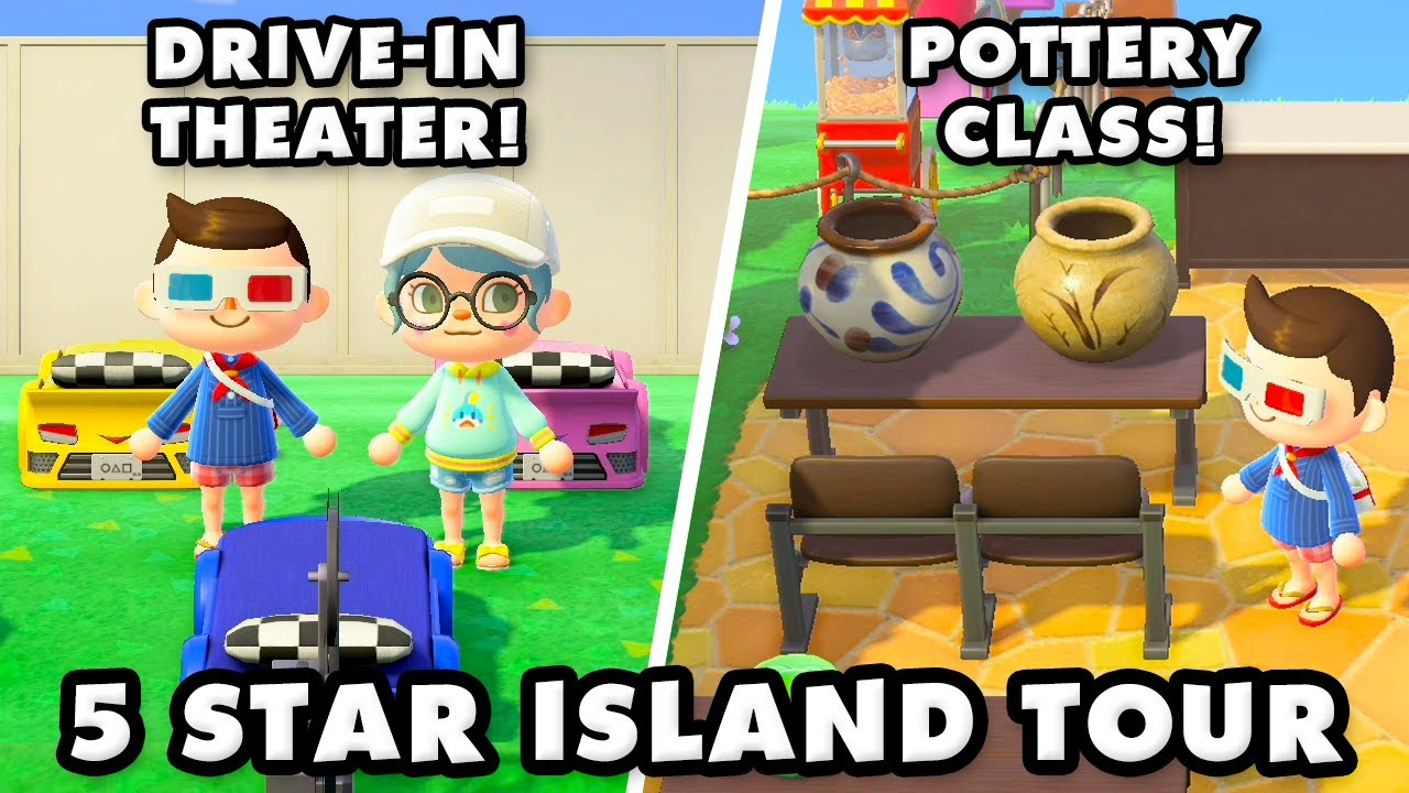 5 Star Island With A Drive In Theater And Pottery Class Animal Crossing New Horizons Island Tour Youtube