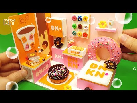 DIY Miniature dollhouse  - Dunkin Donuts room decor ! Doughnuts ~