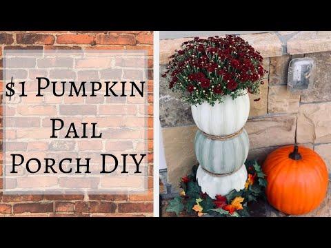 Dollar Tree DIY Porch Fall Decor | DIY Outdoor Pumpkin Planter
