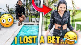 I LOST THE BET... I JUMPED IN POOL FULLY CLOTHED!!! 😭