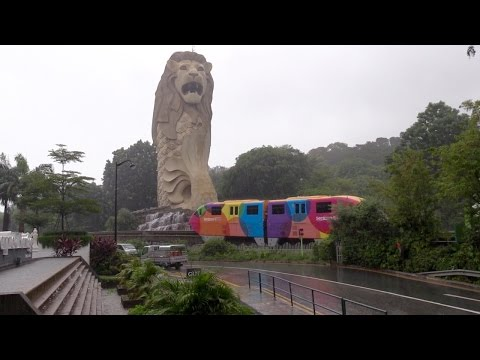 Singapore's Sentosa Express Monorail unique view, Ultra HD