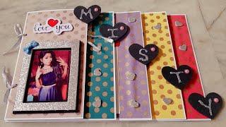 Name Scrapbook card #album greeting card #Scrapbook idea #birthday card with cute polkadots pattern.
