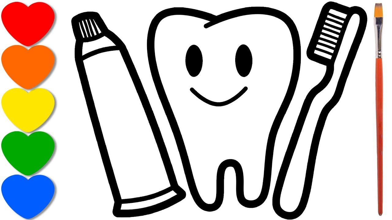 Tooth Toothpaste And Toothbrush Drawing For Kids Coloring Pages For Toddlers