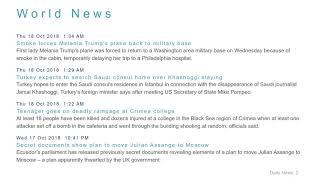 World News Headlines for 18 Oct 2018 - 8 AM Edition