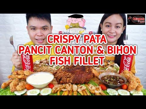 Crispy Pata, Pancit Canton & Bihon, Fish Fillet Mukbang / Filipino Food Mukbang / MikMak Mukbang PH