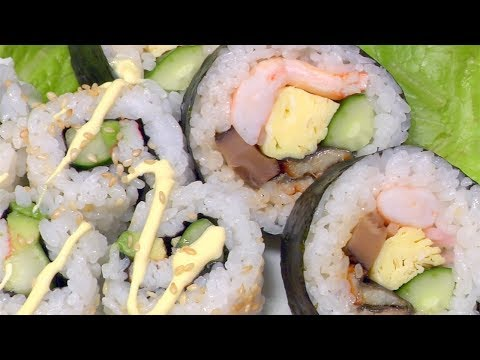 How to Make Futomaki Sushi and California Roll (Thick Rolled Sushi Recipe)   Cooking with Dog