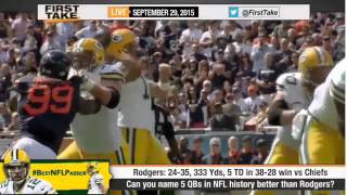 espn first take top 5 greatest qbs of all time aaron rodgers