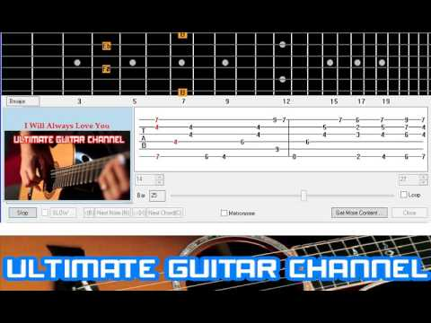Guitar Solo Tab] I Will Always Love You (Whitney Houston) - YouTube