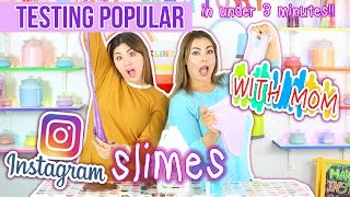 SLIME WITH MOM! Remaking popular Instagram slimes under 3 minutes challenge with mom! Slimeatory #29