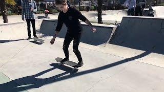 GIRL LEARNS HER FIRST SKATEBOARD TRICKS    FAKIE SHOVE