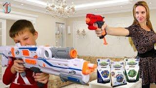 Nerf Челлендж Тима играет против мамы за новые игрушки Бейблейд 4 сезон