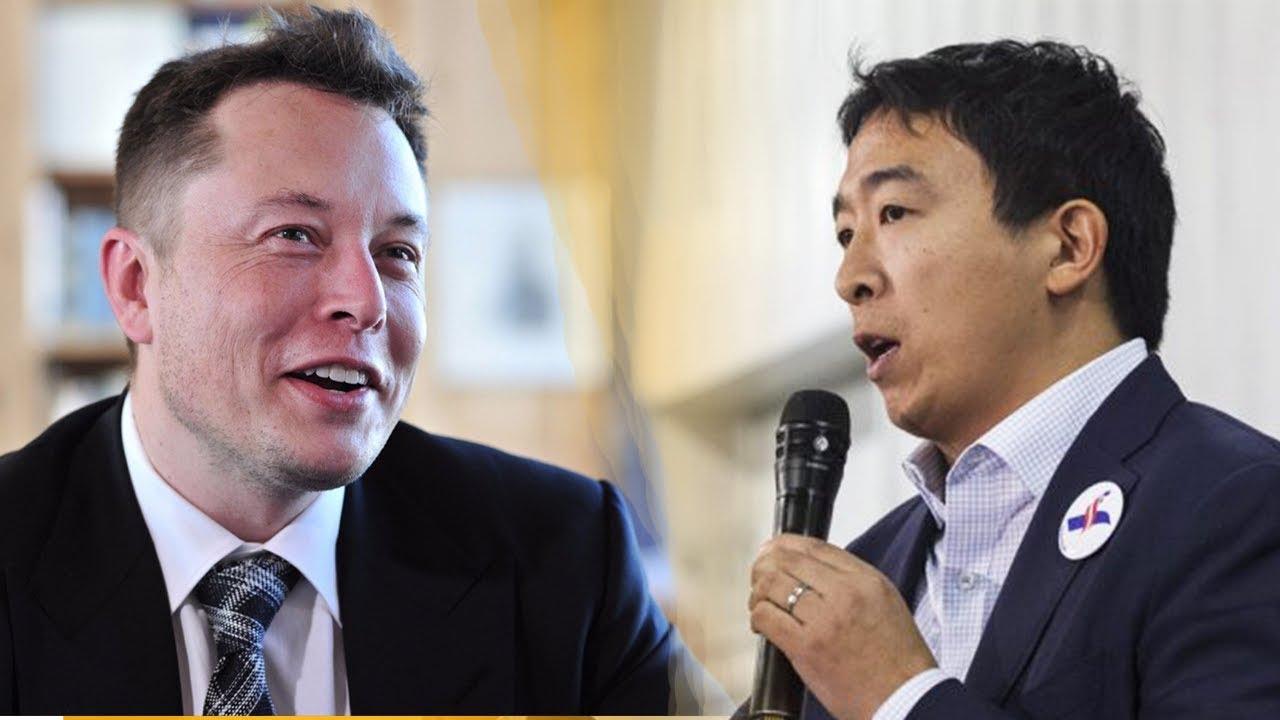 Elon Musk Andrew Yang On Universal Basic Income Youtube
