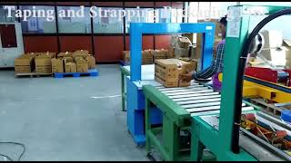 TAPPING AND STRAPPING PACKAGING LINE