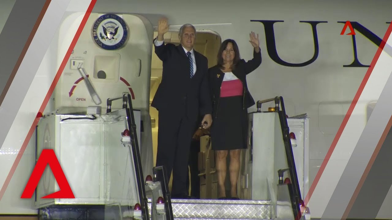 US Vice President Mike Pence arrives in Singapore