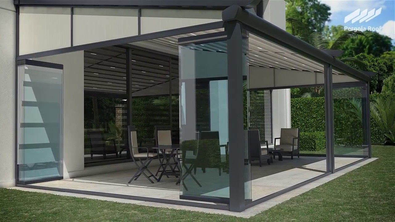 pergola roof and sliding stackable glass walls with screens