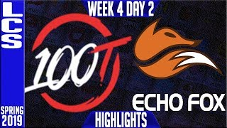 100 vs FOX Highlights | LCS Spring 2019 Week 4 Day 2 | 100 Thieves vs Echo Fox
