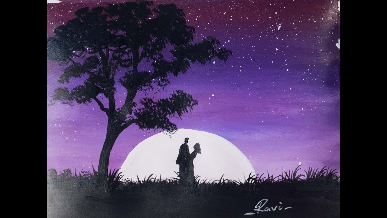 Beginner Acrylic Tutorial | Couple in Love Painting - YouTube for Silhouette Paintings Of Couples  110zmd