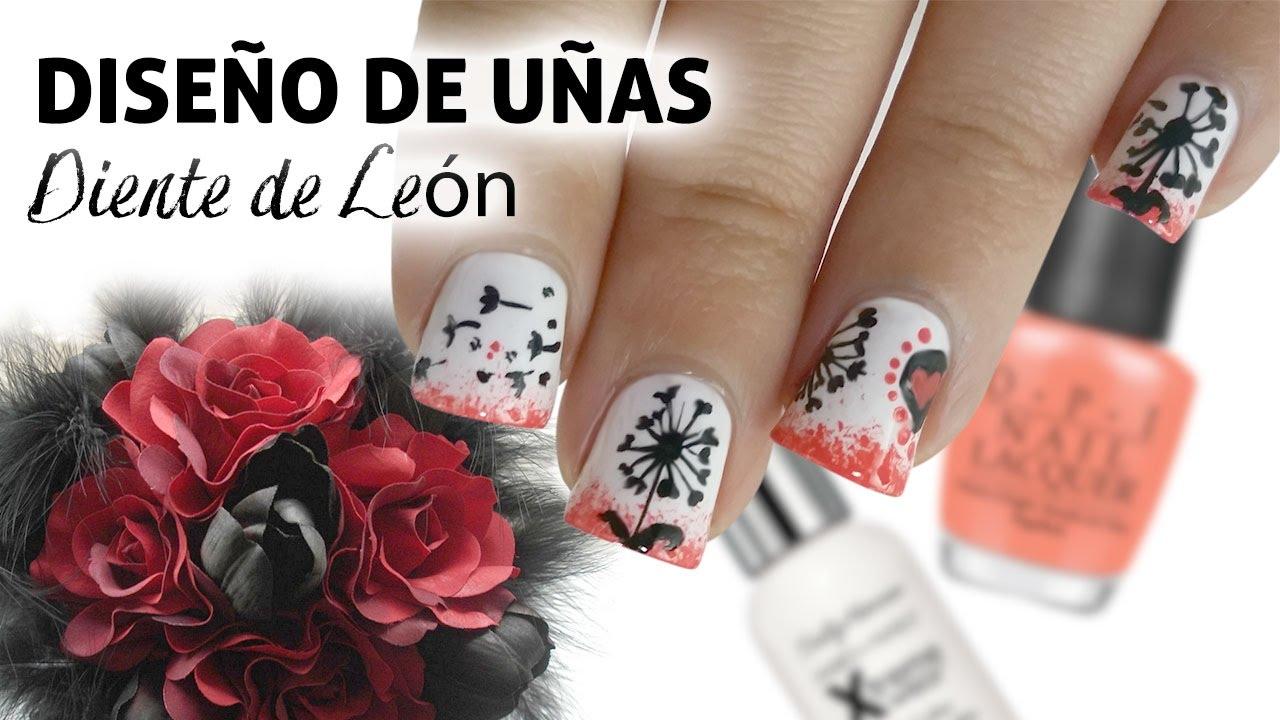 Nail Art Diseño De Uñas Diente De León Youtube