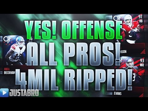 YES!! OFFENSIVE ALL PROS! 100 ALL PRO OFFENSE PACKS! AMAZING PULLS! Madden Mobile 17