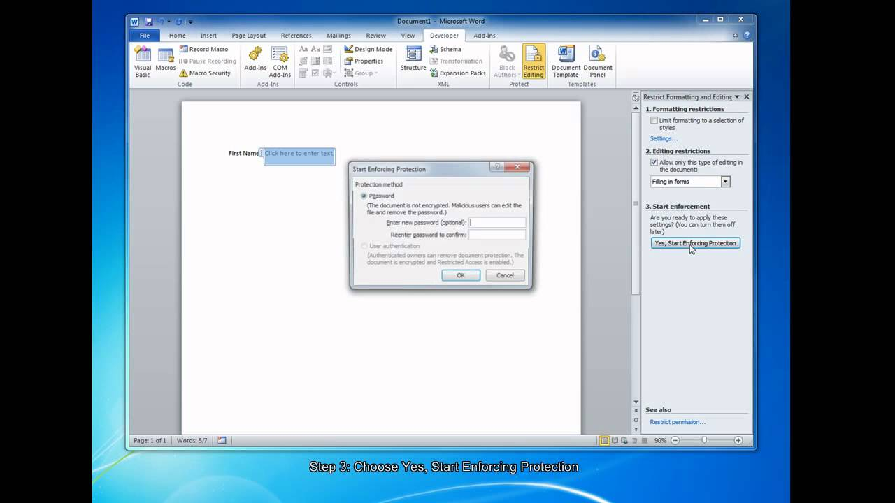 how to create fillable forms in microsoft word 2010 youtube