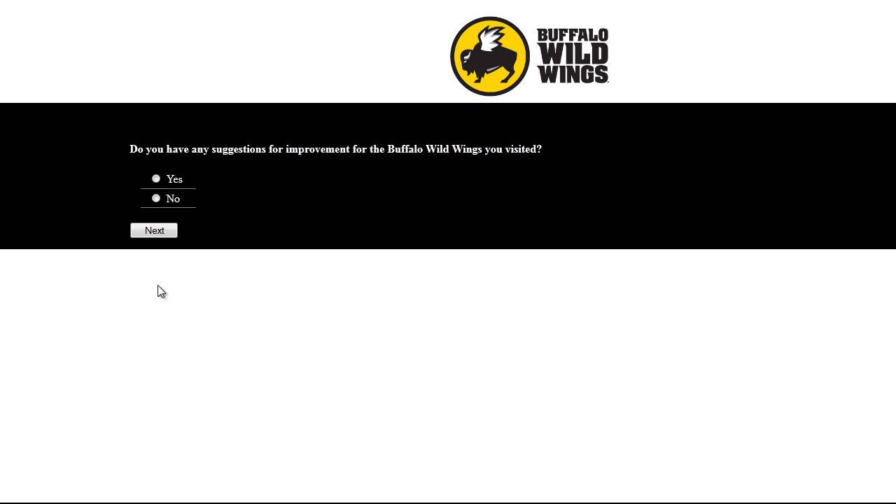 Buffalo wild wings receipt survey