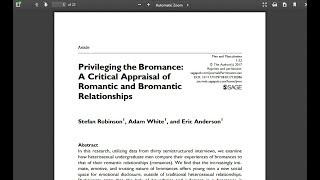 "Study: The rise of ""bromance"" hurts women"