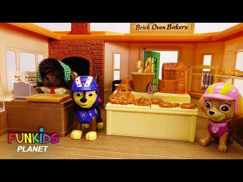 Learning Colors Videos for Kids: Paw Patrol Skye & Chase Play with Surprise Calico Critter Bakery
