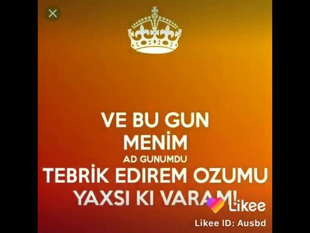 Təbrik Edirəm Ozumu Dogum Gunum Mubarək Youtube