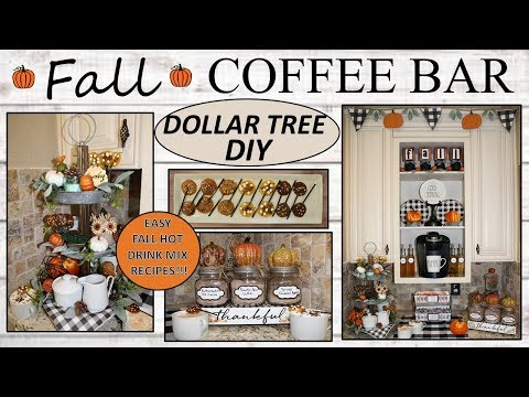 FALL COFFEE BAR (2019) | Dollar Tree DIY | FARMHOUSE Decor| Fall Drink Recipes
