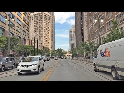 Driving Downtown - Woodward Avenue - Detroit Michigan USA