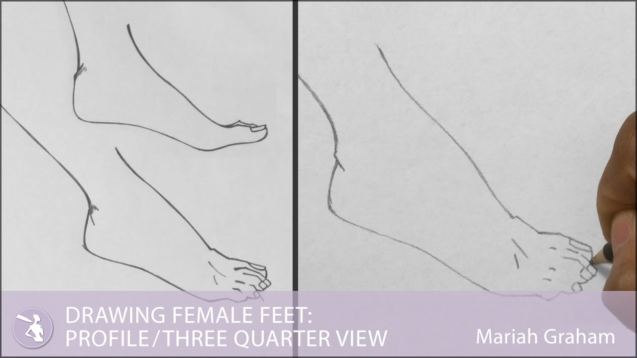 Line Drawing Female : Drawing female feet profile three quarter view youtube