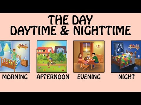 Different Time Of The Day - Daytime & Nighttime For Kids | Basic English Lessons & Vocabulary