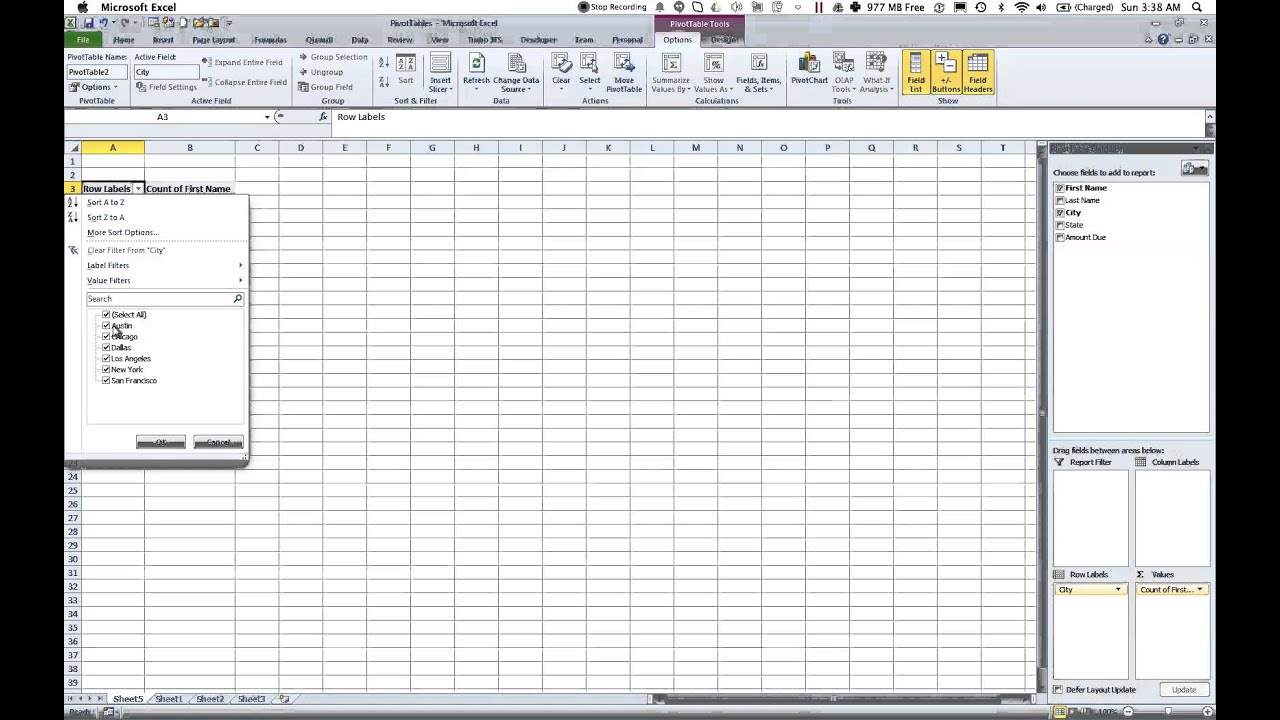 Excel 2010 Pivot Tables using keyboard shortcuts - YouTube