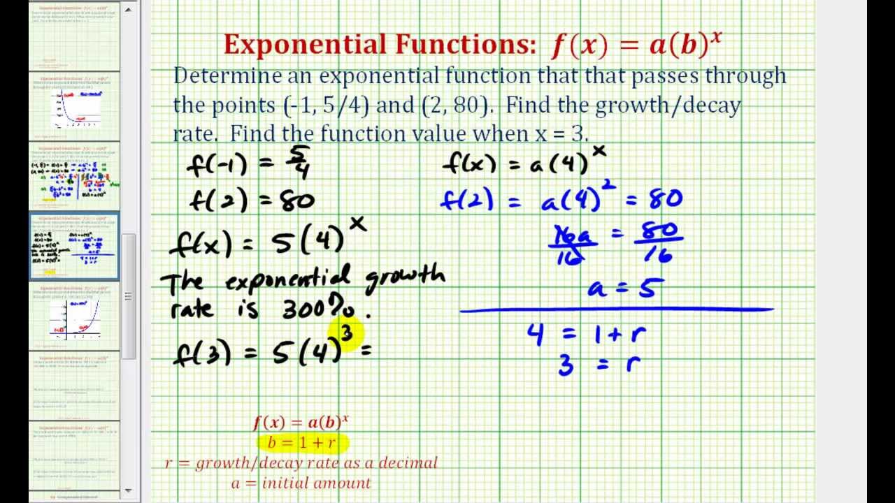 a3446def240 Ex  Find an Exponential Function Given Two Points - Initial Value Not Given  - YouTube