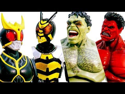 HULK ft Kamen Rider Power Rangers Appeared~ Battle Hulk Transform Marvel Avengers #Toymarvel