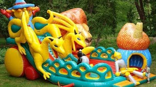Outdoor Playground with Giant Slides Kids Playing Skip To My Lou Nursery Rhymes Song for Children