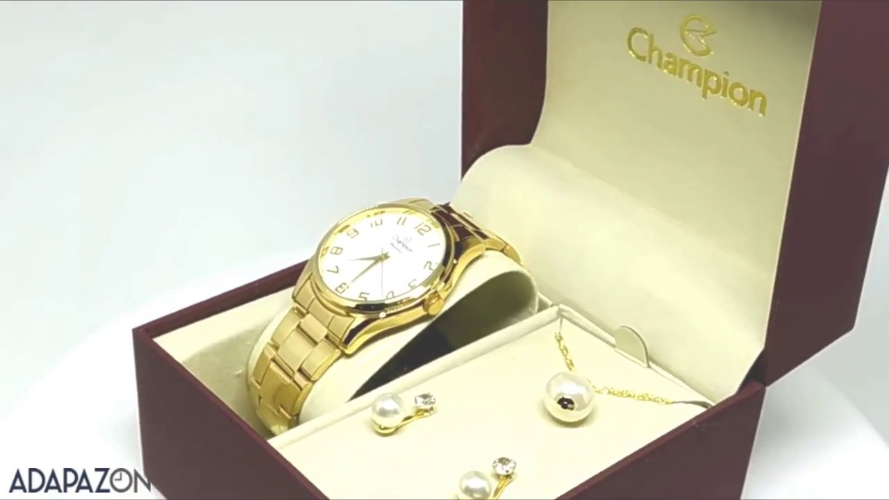 5c9eeedfa49 Relógio Feminino Dourado Champion Cn29883j Brinde Colar e Brincos