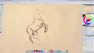 Drawing a rearing horse, POSE TUTORIAL