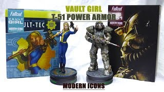 Fallout Vault Girl & T-51 power armor Modern Icons statue Unboxing & Review