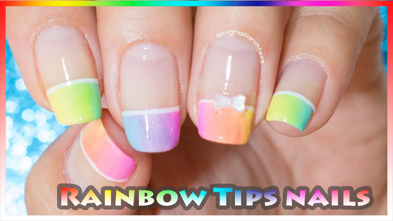 Pastel Rainbow French Tips Nail Art