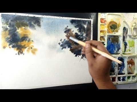 EASY WATERCOLOR DEMONSTRATION | watercolor landscape painting | Art Explain